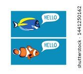 reef fishes say hello. colorful ... | Shutterstock .eps vector #1441250162