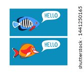 reef fishes say hello. colorful ... | Shutterstock .eps vector #1441250165