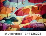 background colorful umbrella... | Shutterstock . vector #144126226