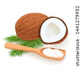coconut butter on wooden spoon. ... | Shutterstock .eps vector #1441279952