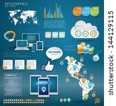 modern realictic infographics... | Shutterstock .eps vector #144129115
