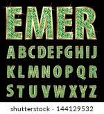 vector golden alphabet with... | Shutterstock .eps vector #144129532