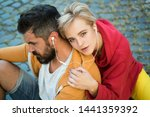 enjoying music. youth fashion.... | Shutterstock . vector #1441359392
