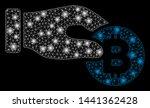 glossy mesh hand take bitcoin... | Shutterstock .eps vector #1441362428