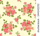 blooming roses seamless pattern | Shutterstock .eps vector #144142252
