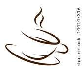 cup of coffee silhouette of the ... | Shutterstock .eps vector #144147316
