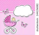 baby girl arrival announcement | Shutterstock .eps vector #144156082
