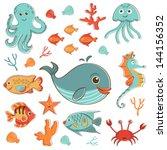 sea creatures doodles set.... | Shutterstock .eps vector #144156352