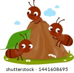Cartoon Ant Workers In An Ant...