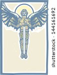 archangel michael in armor and... | Shutterstock . vector #144161692