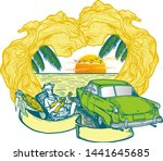 time to travel summer holidays... | Shutterstock .eps vector #1441645685