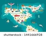 animals world map  north... | Shutterstock .eps vector #1441666928