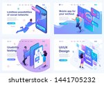 set isometric landing pages ... | Shutterstock .eps vector #1441705232