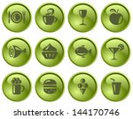 food and drinks button set | Shutterstock .eps vector #144170746