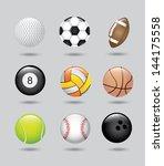 sport balls over gray... | Shutterstock .eps vector #144175558