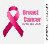 realistic pink ribbon  breast... | Shutterstock . vector #1441829345