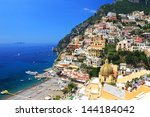 positano on the amalfi coast ... | Shutterstock . vector #144184042
