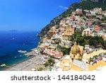 positano on the amalfi coast ...   Shutterstock . vector #144184042
