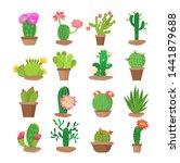 cactus flower in pots bright... | Shutterstock .eps vector #1441879688