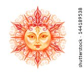 sun with face isolated on white ... | Shutterstock . vector #144189538