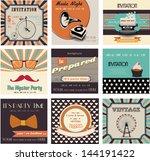 set of invitation cards vintage ...   Shutterstock .eps vector #144191422