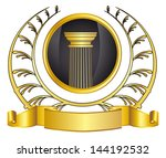 old style greece column and... | Shutterstock .eps vector #144192532