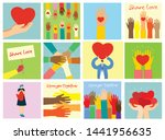 share your love. hands with... | Shutterstock .eps vector #1441956635