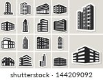 buildings vector web sticker... | Shutterstock .eps vector #144209092