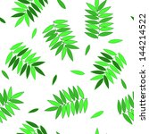 green fresh leaves on white... | Shutterstock .eps vector #144214522