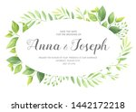 wedding invitation with green... | Shutterstock .eps vector #1442172218