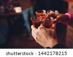 male hands cheer with glasses... | Shutterstock . vector #1442178215