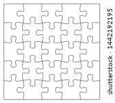 set of black and white puzzle... | Shutterstock .eps vector #1442192195