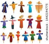 Scarecrow Icons Set. Cartoon...