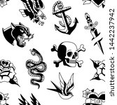 vector old school tattoo... | Shutterstock .eps vector #1442237942