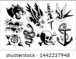 vector set of old school tattoo ... | Shutterstock .eps vector #1442237948
