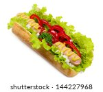 it is hot dog on isolated... | Shutterstock . vector #144227968