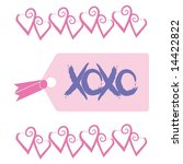 love and kisses tag with xoxo... | Shutterstock .eps vector #14422822
