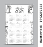 calendar 2024 vector template ... | Shutterstock .eps vector #1442291888