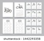 desk calendar 2020 template set ... | Shutterstock .eps vector #1442293358