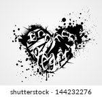 grunge heart with broken heart... | Shutterstock .eps vector #144232276