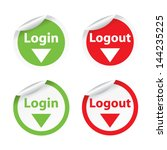 set of login logout labels  ... | Shutterstock .eps vector #144235225