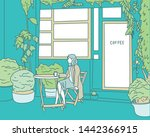 a woman sitting in a botanical... | Shutterstock .eps vector #1442366915