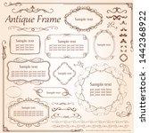 vintage vector set. floral... | Shutterstock .eps vector #1442368922