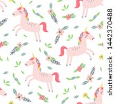 childish seamless pattern with... | Shutterstock .eps vector #1442370488
