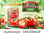 canned tomato puree ads with... | Shutterstock .eps vector #1442398628