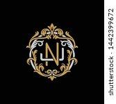 initial letter j and n  jn  nj  ... | Shutterstock .eps vector #1442399672
