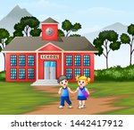 children walking in front of... | Shutterstock .eps vector #1442417912