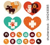 Stock vector vector veterinary emblems and signs cat and dog cartoon icons 144243085