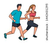 young athletic couple running... | Shutterstock .eps vector #1442431295