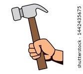 hand with hammer metal tool   Shutterstock .eps vector #1442435675